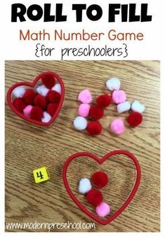 Roll to Fill Counting Game Heart roll and count math game for preschool and kindergarten for Valentine's Day!Heart roll and count math game for preschool and kindergarten for Valentine's Day! Valentine Theme, Valentines Day Party, Valentine Day Crafts, Valentine Games, Printable Valentine, Homemade Valentines, Valentine Box, Valentine Wreath, Valentinstag Party