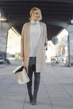 knitted turtleneck with coat and wrap skirt