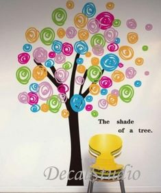 Colorful Circle Tree-Wall Sticker Decal for Girls Kids Nursery Bedroom