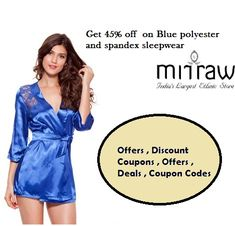 Get 45% off on Blue polyester and spandex sexy sleepwear .#nightwearforwomen #nightwear #ladiesnightwear #womensnightwear #nightsuits #nighties #nightdress #MirrawCoupons #Mirrawoffers #deals #coupontrends