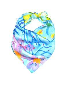 "Printed on luxurious 100% 19mm silk charmeuse, this vibrant 19"" x 19"" bandana features original watercolor artwork by Chioma Ebinama and can be worn on the neck, wrist, or on your favorite bag! A percentage of all proceeds goes directly to support Genesis Women's Shelter & Support.  Care Instructions: Gentle hand spot washing with gentle soap. Flat dry. Iron."