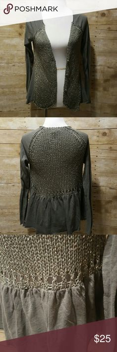 cute little cardigan size medium. olive green crochet front cardigan. has buttons on front. tshirt material on shoulder, arms and back. Super cute and trendy. Meadow rue from anthropologie Anthropologie Sweaters Cardigans