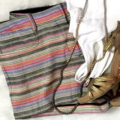 Max Studio Striped Linen Shortie Shorts Holy Moly these are cute! Spring is here but SUMMER is around the corner. These Linen/Cotton blend shorts are gonna be your go to on days at the beach, outdoor shopping, travel and dinner with friends. Or pizza and board game night - you do you. Pair it with a plain white tank, graphite tee, silky tie blouse although an old denim shirt would be amazing! Tall metallic wedges, flat ankle booties, Toms or Banana Rep flip flops. Big Wooden ear rings are…