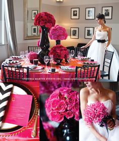 Gorgeous wedding photo shoot loaded with black & hot pink decor ideas!