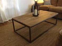 Custom Made Welded Base Coffee Table With Reclaimed Wood Top