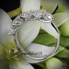 2.43Ct Brilliant Cut Real Moissanite 5 Stone Engagement Ring 925 Sterling Silver