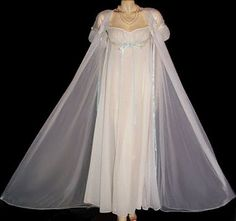 "You do not see these stunning vintage bridal trousseau double nylon peignoir & nightgown sets much any more. This lovely peignoir & nightgown set is by ""I Do"" in sheer double nylon adorned with beauti"