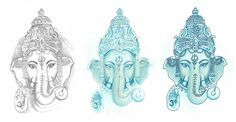 Blue Ganesha Tattoo for TV show Nurse Jackie ~Jenai Chin The Tattoo Girl Tweet, Fan, Tumble, Blog