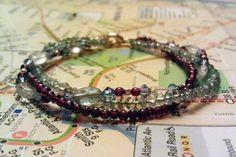 Ocean Bracelet  Aquamarine Garnet by HabibiShabibiDesigns on Etsy, $35.00