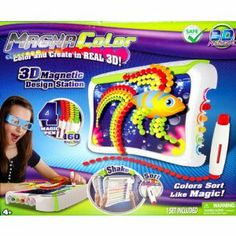 Magna Color by Tech 4 Kids. $24.50. As seen on TV. With all pieces self-contained in the unit, this innovative crafts toy allows for no-mess playing!. Includes a pair of 3D glasses, 4double sided stencils and 160 magic dots.. Specially-designed magnetic drawing studio with screen sweeper. Create 3D Art - Reuseable. Magna Color 3D Art  Create vibrant 3D artwork by using the magnetic studio and colourful 3D dots. Watch the dots magically flow through the specially desig...