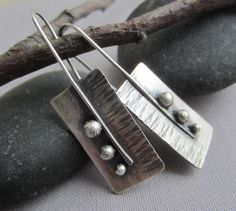 Texturized Silver Earrings/ Silver Hammered Earrings/ by mese9//the earwire soldered in front//interesting for leaf earrings?