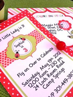 Lady bug party invitations