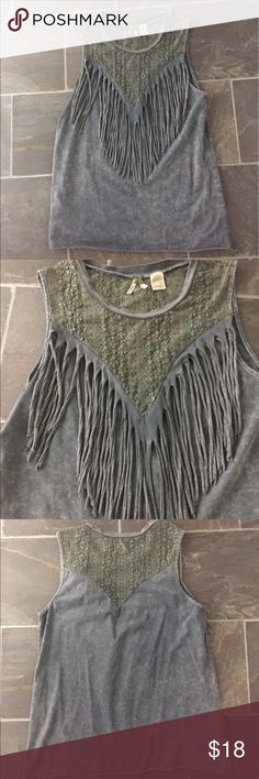 Gimmicks lace and fringe sleeveless top Gimmicks by bke from the buckle sleeveless top size large but fits like a medium. It is a distressed washed gray color with fringe. The neckline is lace in a shade of green. BKE Tops Tank Tops