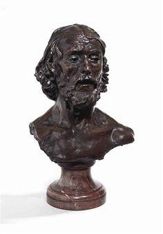 Auguste Rodin, Buste de Saint Jean-Baptiste, étude sur socle carré, variante