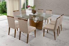 mesas de jantar com 8 cadeiras com tampa de vidro