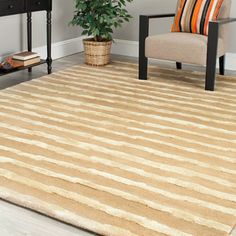 Shop for Safavieh Handmade Soho Stripes Beige/ Gold New Zealand Wool Rug (9'6 x 13'6). Get free shipping at Overstock.com - Your Online Home Decor Outlet Store! Get 5% in rewards with Club O!