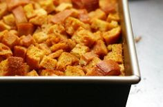 Pumpkin Bourbon Bread Pudding.  So delicious and so easy!  I used challah instead of french bread and it turned out great!