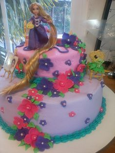 Tangled Cake for a special 4yr Birthday- Buttercream and ONLY fondant flower accents-10/11