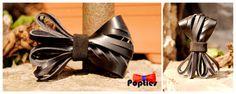 Handmade fringed leather bow tie black UNISEX by Popties on Etsy, €11.65