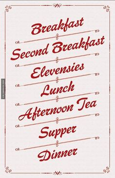 Simple Meal Schedule For Hobbits