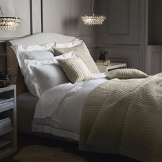 Glass Orb Chandelier from The White Company Star Bedroom, Bedroom Bed, Bedroom Decor, Bedroom Ideas, Bedroom Inspiration, Cotton Bedding Sets, Linen Bedding, Bed Linens, Orb Chandelier