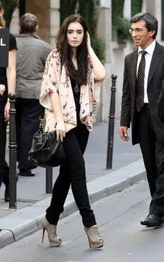 Lily Collins - love this outfit! She really knows how to make herself look longer...