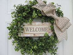 WELCOME BOXWOOD WREATH...Faux Boxwood Wreath..Spring Door Wreath..Spring Wreath...Housewarming Wreath...Porch Decor Wreath..Farmhouse Wreath