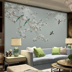 Oriental Plum Blossom Magnolia & Birds Wallpaper Wall Murals, Light Sky Blue Grey White Flowers Wall