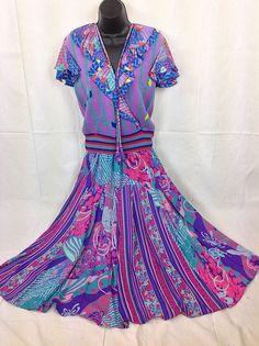 Diane Freis Dress For Marisa Christina 2pc Purple Floral Geometric Vtg #DianeFreis #FeminineFlowy #Casual