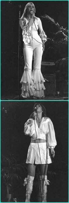 Agnetha and Frida in 1975 on stage
