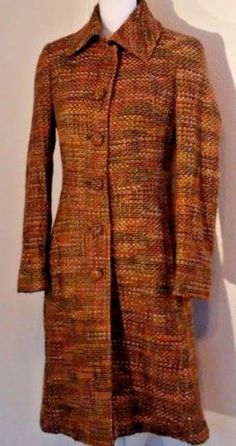 Guess-by-Marciano-Women-039-s-Coat-Size-S-Small-Tweed-Long-Multi-Color-60s-Inspired