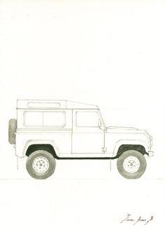 Land Rover Defender.   Marco y mat no incluida, solo la impresión.   Una reproducción de mi pintura original.  Estas impresiones de alta calidad se imprimen con un proceso de impresión de Bellas Artes  en un papel grueso de alta calidad de 250 g/m2.  Elija uno de los tamaños.  Todas las impresiones incluyen un borde blanco (aproximadamente 0,2 pulg. / 3 mm.  todos los lados) para permitir el encuadre.   ENVÍO:  Envío a todo el mundo.  El envío básico es sin número de seguimiento, Correo…