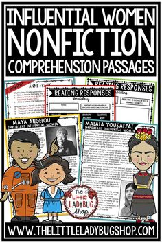 Grow your students knowledge of Influential Women of History and Today with these Nonfiction Reading Comprehension Passages. These reading passages are wonderful for your students to study these influential leaders including Malala Yousafzai, Mother Teresa, Anne Frank, and more! Perfect for 3rd grade, 4th grade and home schooling classrooms. #readingcomprehensionpassages #readingpassages