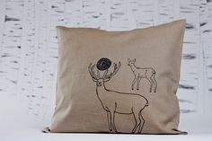 'Deer Love' limited edition screen printed pillow-case by evuska Love S, Screen Printing, Deer, Pillow Cases, Objects, Pillows, Printed, Beautiful, Screen Printing Press