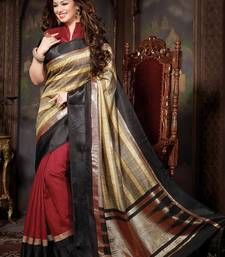 Buy multicolor printed cotton_silk saree with blouse bhagalpuri-silk-saree online