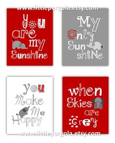 Elephant Art, You are my sunshine Red and Gray Art Prints, 4-8x10 prints, Matches Boy or Girl Nursery, nursery, or playroom