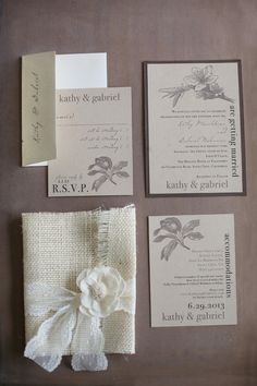 Wedding Invitations with burlap & lace wrap (sent in a box) - by BeaconLane - https://www.etsy.com/shop/BeaconLane -- See more of this real wedding on SMP: http://www.StyleMePretty.com/california-weddings/2014/03/14/santa-cruz-wedding-at-hollins-house/ Julie Cahill Photography