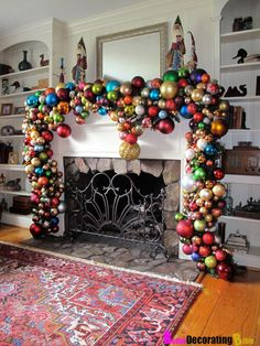 Mantel decorations, I love this!I am going to have to start saving christmas decorations. Christmas Mantels, Noel Christmas, Simple Christmas, All Things Christmas, Winter Christmas, Christmas Crafts, Beautiful Christmas, Christmas Fireplace, Christmas Balls