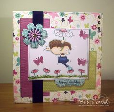 Girly and whimsical card - the colours are fabulous together and suit the Penny Black image very well.