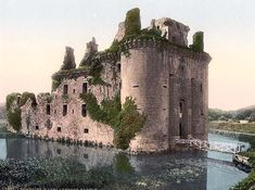 image of Caerlaverock Castle, Dumfries, Scotland. This color photochrome print was taken between 1890 and 1900 in Dumfries, Scotland. Beautiful Castles, Beautiful Buildings, Beautiful Places, Beautiful Ruins, Scotland Castles, Scottish Castles, Places To Travel, Places To See, Travel Destinations