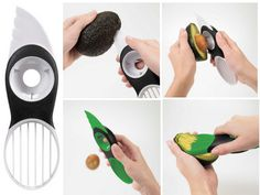 3-in-1 Avocado Slicer by the good folks at OXO safely and efficiently splits, pits, slices and scoops avocados! via thekitchenoutlet #Avocado_Slicer