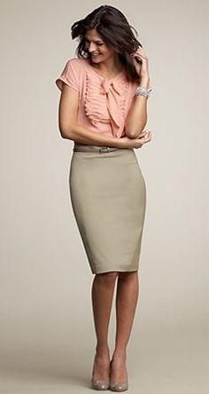 Beige skirt and feminine blouse.