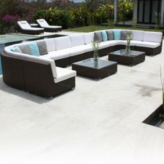 Skyline Pacific Group Sofa Collection. The luxurious Pacific group sofa has many configurations available allowing you to create the perfect group of outdoor lounge furniture by purchasing individually. Available in different colors of weave and a selection of stylish upholstery fabrics.  Image shown with with java brown and natural Fabric type A. http://www.occa-home.co.uk/pacific-group-sofa-collection
