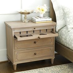 With its European allure, our Isabella collection transforms the bedroom into a romantic retreat. The Isabella Large Nightstand with Charging Station has a pullout drawer with extension.