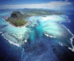 Mauritius island, underwater waterfall
