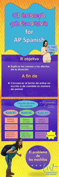 "Are you looking for a step-by-step lesson on how to write the persuasive essay for AP Spanish? This 68-slide PowerPoint and activities will help your students master, ""el ensayo persuasivo."" There are example essays, practice analyses, peer edits, vocabulary lists and too much to list here! This got my students from, ""I can't believe you wrote that,"" to, ""You convinced me."" Click here to see all that is included."