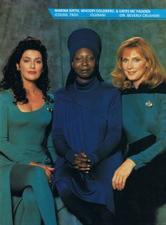 Troi, Guinan, and Crusher have clones of each to act in respective capacity as counselor, barkeep, and doctor..