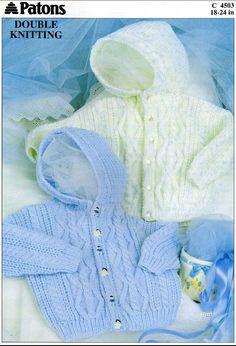 Vintage PDF BABY Knitting Pattern - Patons 4503 - hooded cardigan on Etsy, £1.00