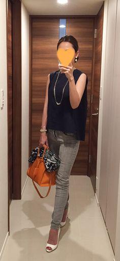 Navy top: martinique, Grey skinnies: J.BRAND, Scarf: ZARA, Orange bag: Saint Laurent, White sandals: miu miu