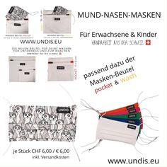 Bei UNDIS www.undis.eu gibt es jetzt auch MUND-NASEN-MASKEN im Partnerlook für Erwachsene und Kinder. Je Stück CHF 6,00 / € 6,00 (Versandkosten sind im Preis inkludiert) #undis #maskeauf #behelfsmaske #mundnasenmaske #mundmaske #gesichtsmaske #nähen #kreativ #bunt #maske #corona #virus #maske #mundnasenschutz #deutschland #schweiz #österreich #maske #kinder #eltern #diy #partnerlook #bunt #gesundheit #mundnasemaske Travel, Bunt, Corona, Funny Underwear, Adult Children, Men's Boxer Briefs, Masks, Sachets, Switzerland